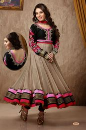Picture of Beige Velvet Anarkali Suit