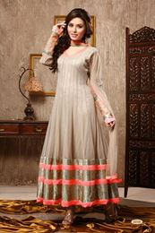 Picture of Beige Net Anarkali Salwar Suit