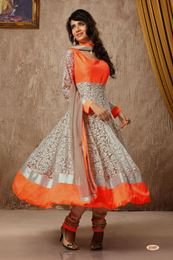 Picture of Beige / Orange Fancy Net Anarkali Salwar Suit