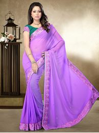 Picture of Moon Collection Lavender Chiffon georgette Saree