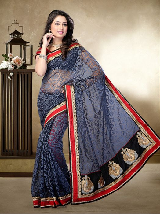 Picture of Moon Collection Grey Brasso Net Saree