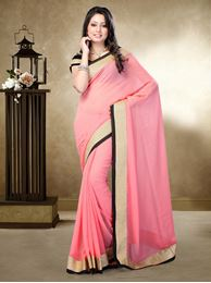 Picture of Moon Collection Pitch Pink Chiffon Georgette Saree