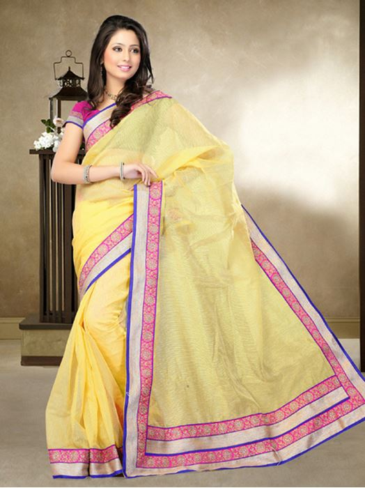 Picture of Moon Collection Yellow Jute Silk Saree