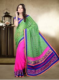 Picture of Moon Collection Light Parrot Green/Pink Faux Georgette Butti Saree