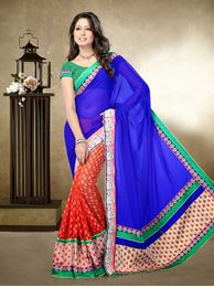 Picture of Moon Collection Royal Blue/Orange Faux Georgette/Banarasi Butti Saree