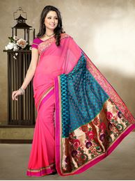 Picture of Moon Collection Piyazi Pink/Turquise Faux Georgette/Brasso Silk Saree