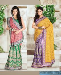 Picture of Pitch Green/ Yellow Satin Saree