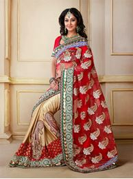 Picture of New Look Gold  Net & Shimmer Saree