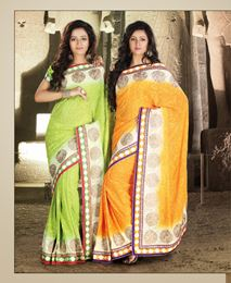 Picture of Pista green/Mustard Viscous Saree