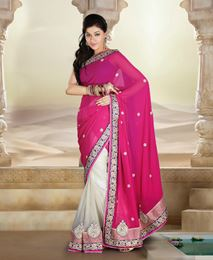 Picture of Rani Pink Pure Georgette Saree